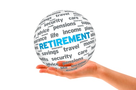 retirement fund: Hand holding a Retirement 3D Sphere on white background.