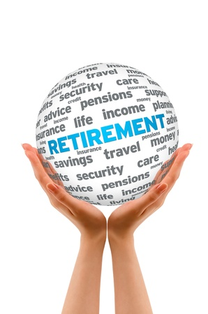 retirement money: Hands holding a Retirement 3D Sphere on white background. Stock Photo