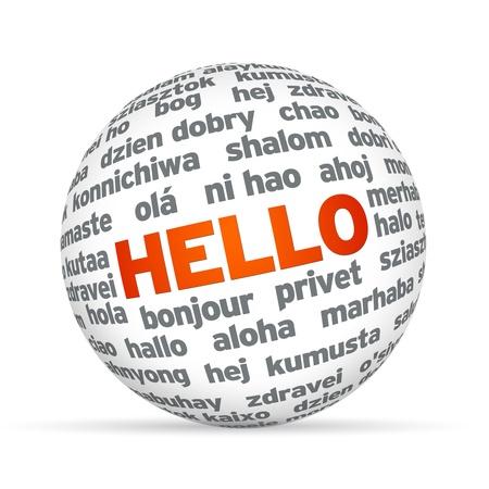 3d Sphere met Hello in verschillende talen. Stockfoto - 12413591