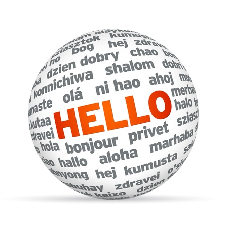 foreign: 3d Sphere with Hello in different languages.