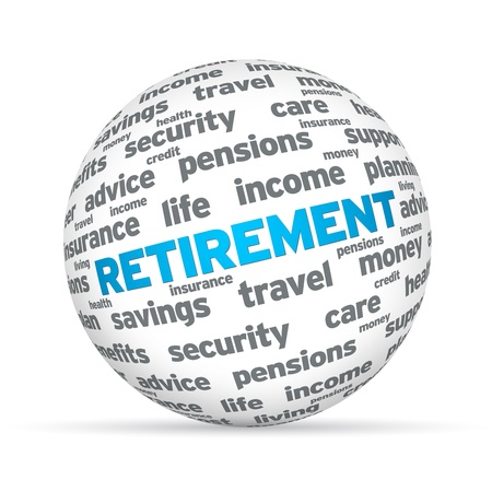 pensions: Retirement 3D Sphere sign on white background.