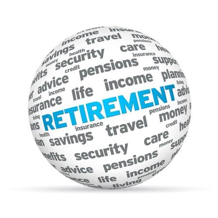Retirement 3D Sphere sign on white background.
