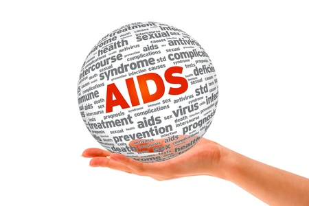Hand holding a Aids 3D Sphere on white background. Stock Photo - 12413607