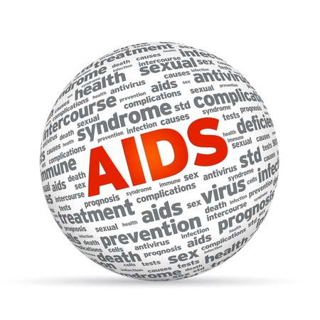 3d Sphere with the word aids on white background.