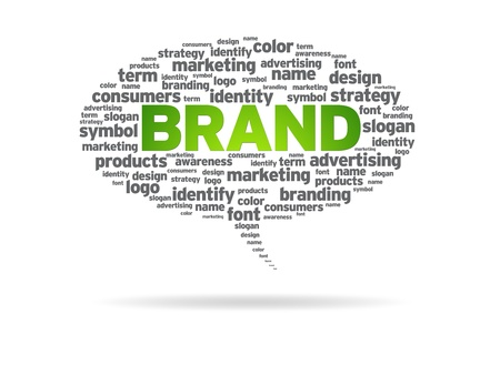 Speech bubble with the word brand on white background. photo