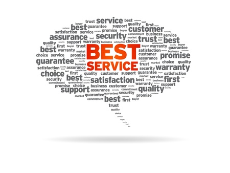 Speech bubble with the  word Best Service on white background.