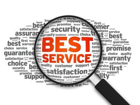 versprechen: Lupe mit einem Best Service Wortwolke auf weißem Hintergrund. Lizenzfreie Bilder