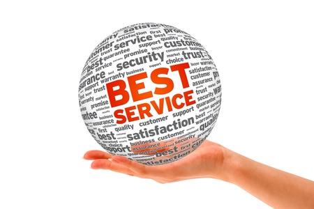白い背景の上、最高のサービス圏域を持っている手。