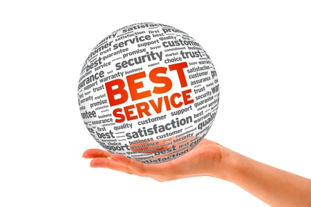 best service: Hand holding a Best Service Sphere on white background.