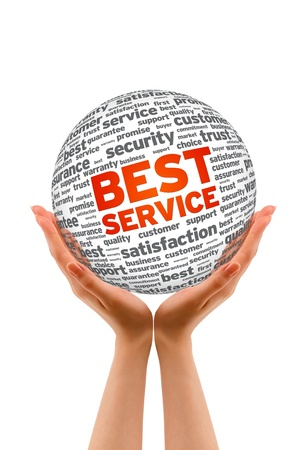 commitment: Manos sosteniendo una esfera mejor servicio en el fondo blanco.