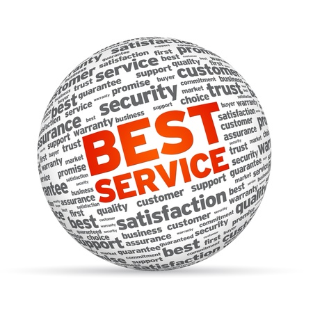 Best Service 3D Sphere on white background. 스톡 콘텐츠