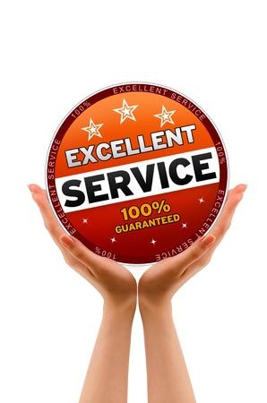 Mains tenant une icône Excellent service sur fond blanc. Banque d'images - 12728863