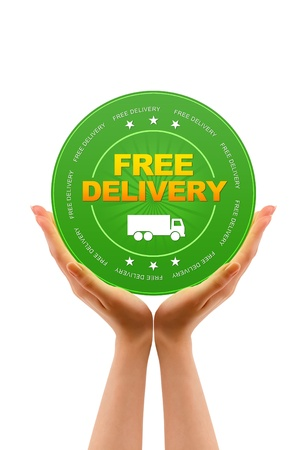 Hands holding a Free Delivery icon on white background Stock Photo - 12728860