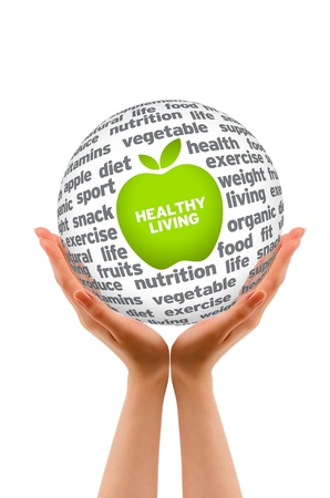 Hands holding a Healhty Lifestyle 3d Sphere on white background  photo