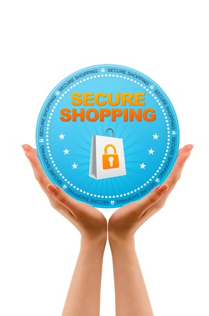 secure: Hands holding a Secure Shopping Icon on white background