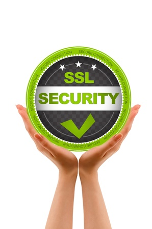 Hands holding a SSL Security Icon on white background  photo