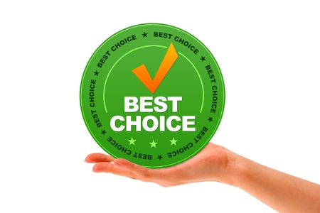 quality service: Hand holding a Besct Choice Icon on white background  Stock Photo
