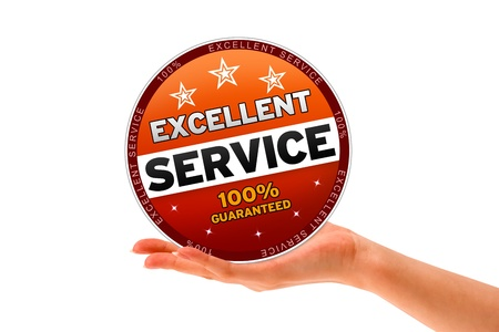 Hand holding a Excellent Service Icon on white background