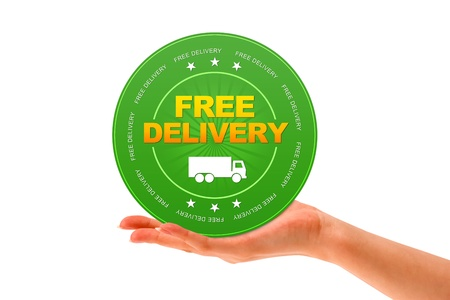 courier: Hand holding a Free Delivery Icon on white background