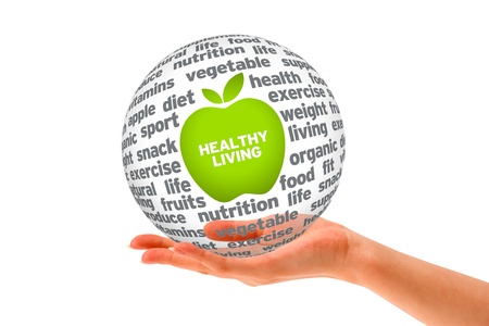 achievment: Hand holding a Healthy Lifestyle Sphere on white background