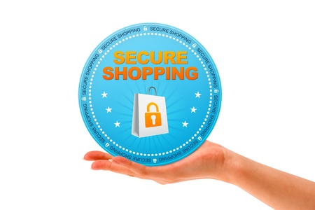 secure: Hand holding a Secure Shopping icon on white background  Stock Photo
