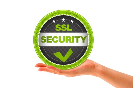 website buttons: Hand holding a SSL Security icon on white background