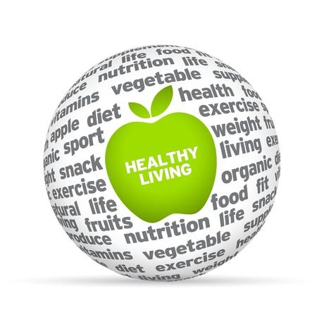saludable: Estilo de vida saludable Esfera 3D sobre fondo blanco