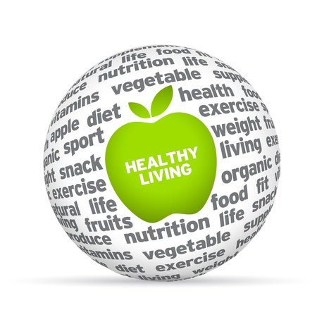 achievment: Healthy lifestyle 3d sphere on white background