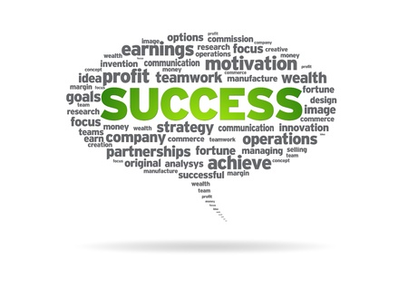 Speech bubble with the word success on white background  photo