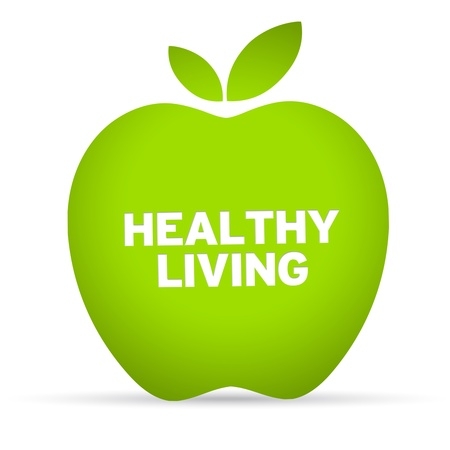 Healthy Lifestyle Apple on white background photo