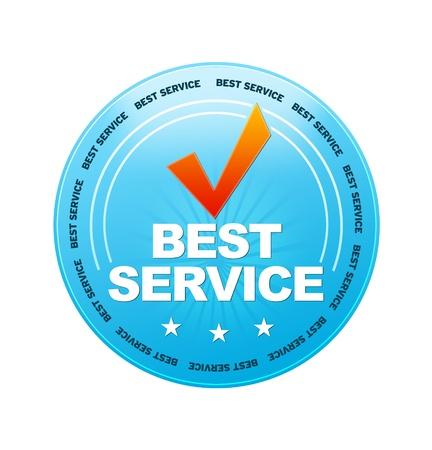 白い背景の上の青いベスト サービス アイコン 写真素材