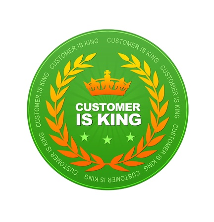 Green Customer is King Icon on white background  photo