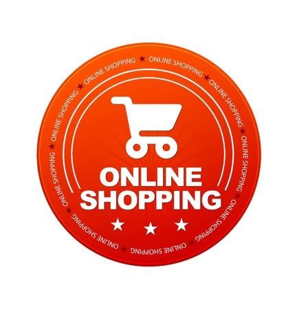白い背景の上のオレンジ オンライン ショッピング アイコン