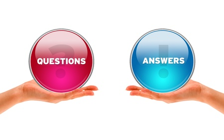 when: Hands holding a Questions and Answers ison on white background