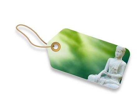 gautama: Buddha Gautama price tag with green background.