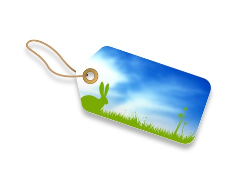 happy Easter price tag with blue sky background. photo
