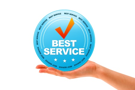 best service: Hand holding a Best Service icon on white background.