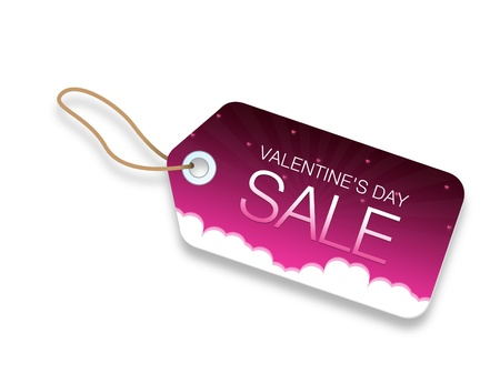 Valentines Day Sale Price Tag with hearts and clouds on pink background.