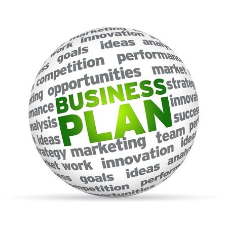 plan van aanpak: 3D-bol met het woord business plan op een witte achtergrond. Stockfoto