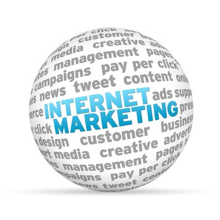 seo: 3D bol met het woord internet marketing op een witte achtergrond.