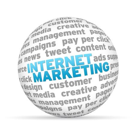network marketing: Esfera en 3D con la comercializaci�n del Internet la palabra sobre fondo blanco.