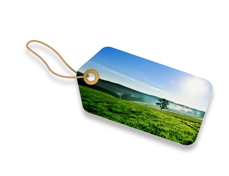 buying: Summer morning field Price Tag on white background.