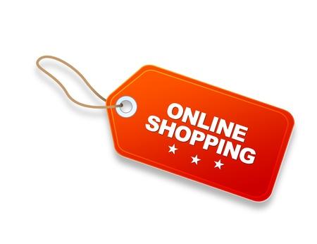 Oranje Online Shopping Prijskaartje op witte achtergrond. Stockfoto