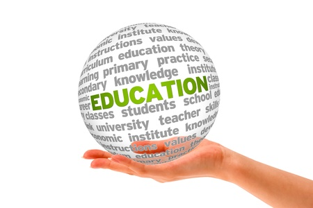 hand school education: Hand holding a Education Sphere on white background.