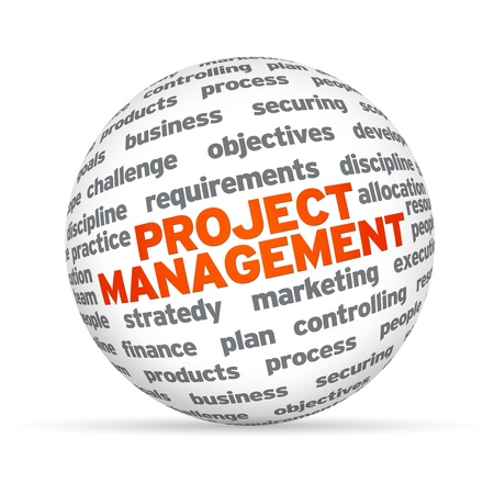 3D sphere with the word Project Management on white background. photo