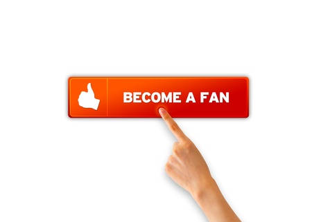 Hand pointing at an orange Become A Fan icon. Stock Photo - 12721423
