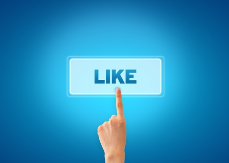 Hand pointing at a like icon on blue grandient background.
