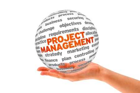 project team: Hand holding a Project Management 3d Sphere. Stock Photo