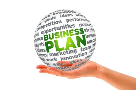 Hand holding a business plan 3d sphere.  Stock Photo - 12850544