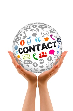 contact us icon: Hands holding a round Contact Us sphere.
